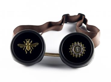 Steampunk Brille Goggles mit Fliege in Gold-Braun