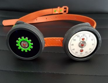Steampunk Brille Goggles in Orange - Grün