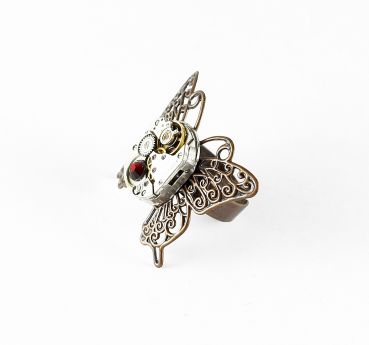 Ring Steampunk Schmetterling in Kupfer mit Rot