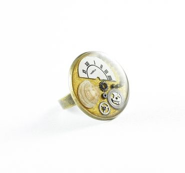 Ring Steampunk Meer in Gold