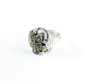 Ring Steampunk Eule in Bronzefarbe