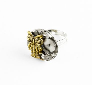 Ring Steampunk Eule in Goldfarbe