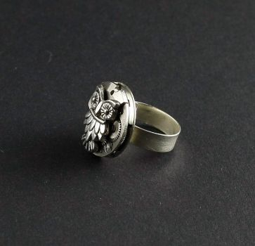 Ring Silber 925 silberne Eule Steampunk