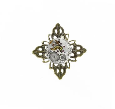 Ring Steampunk Blume in Bronzefarbe