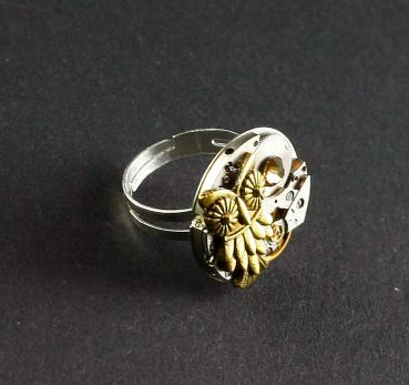 Ring Steampunk goldene Eule