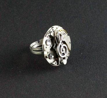 Ring Steampunk Violinschlüssel Rund mit Weiß | Bernhardt Style ...