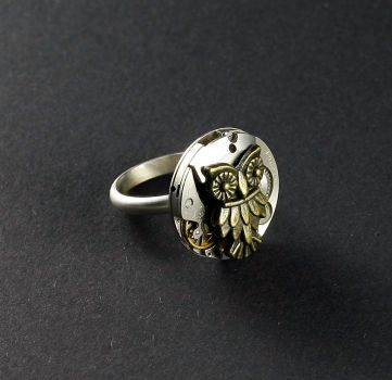 Ring Steampunk Silber 925 mit Eule