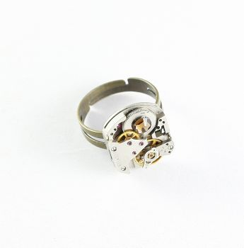 Ring Steampunk mit Preciosa Kristalle in Gold-Braun