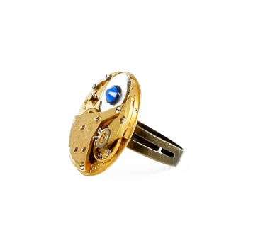 Ring Steampunk Gold mit Blau