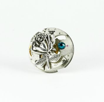 Ring Steampunk Rose in Silber