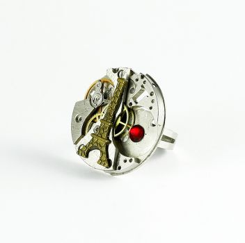 Ring Steampunk Paris mit Rot