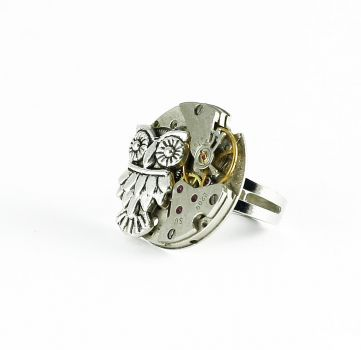 Ring Steampunk Silberne Eule