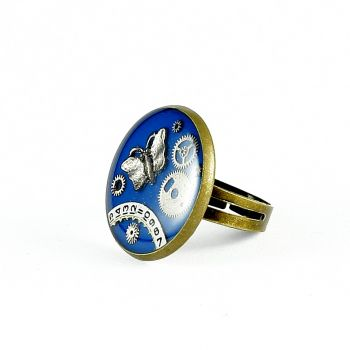 Ring Steampunk Schmetterling in Blau