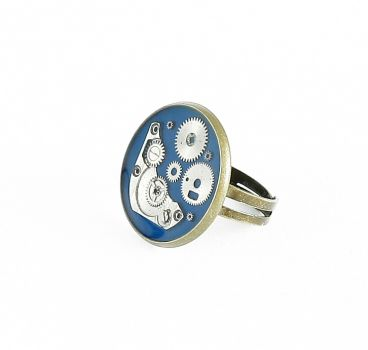 Ring Steampunk in Blau