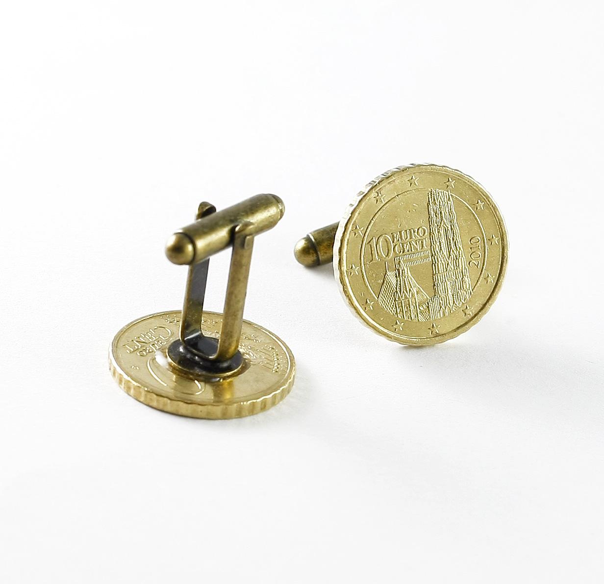 Manschettenknöpfe 10 Euro Cent österreich Austria Münzen