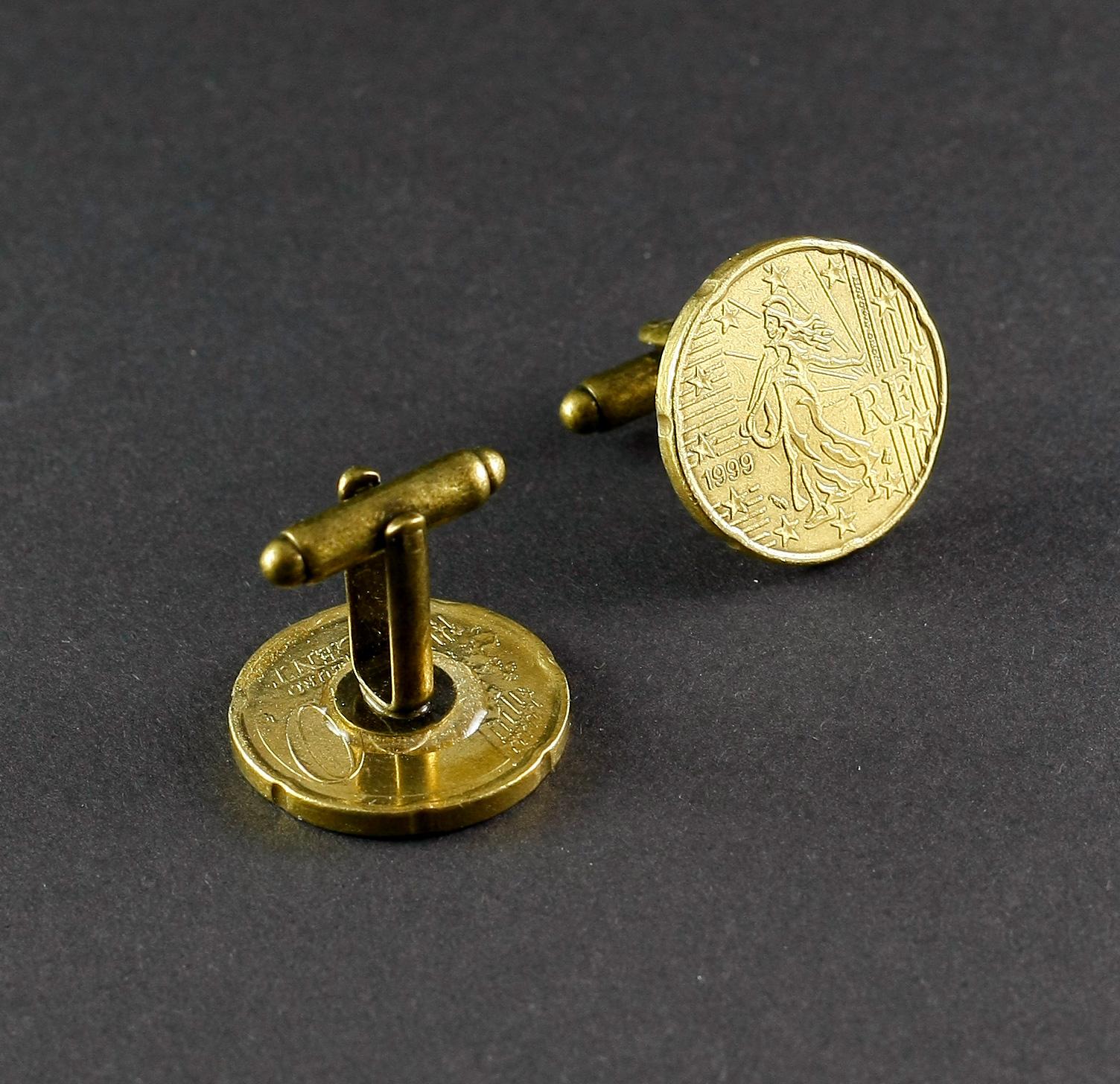 Manschettenknöpfe 20 Euro Cent Frankreich Münzen Bernhardt Style