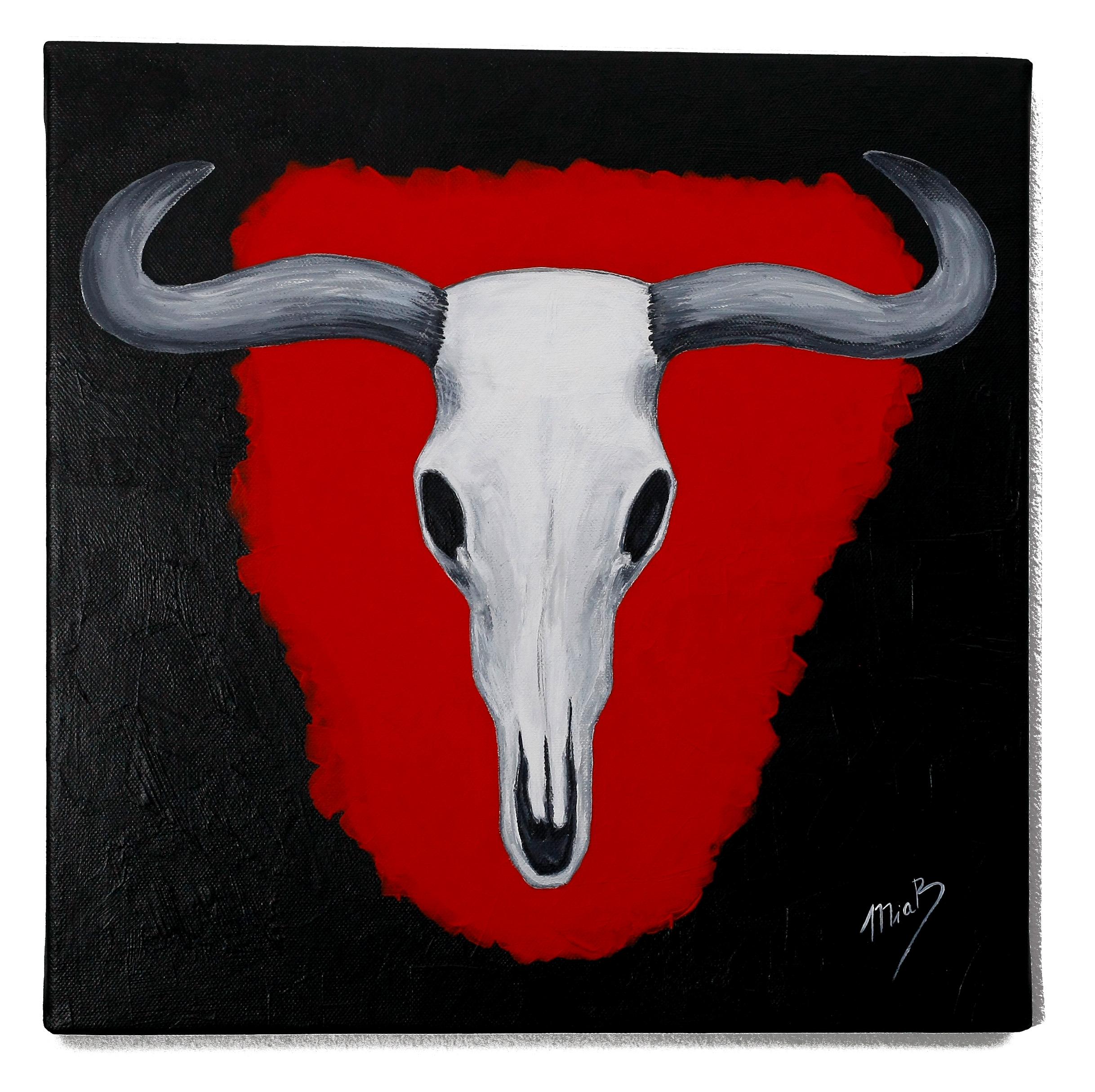 Abstrakte Kunst Leinwand gemälde schädel stier / kuh bild malerei abstrakte kunst leinwand