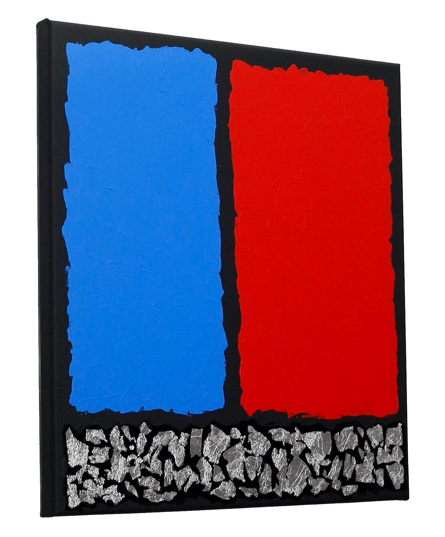 Abstrakte Kunst Rot Blau und Silber, Gemälde Bild Malerei Leinwand ...