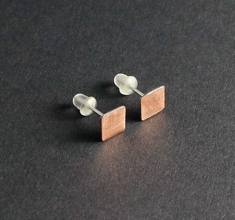 Ohrstecker ohrschmuck quadrat kupfer silber 925 for Kupfer accessoires