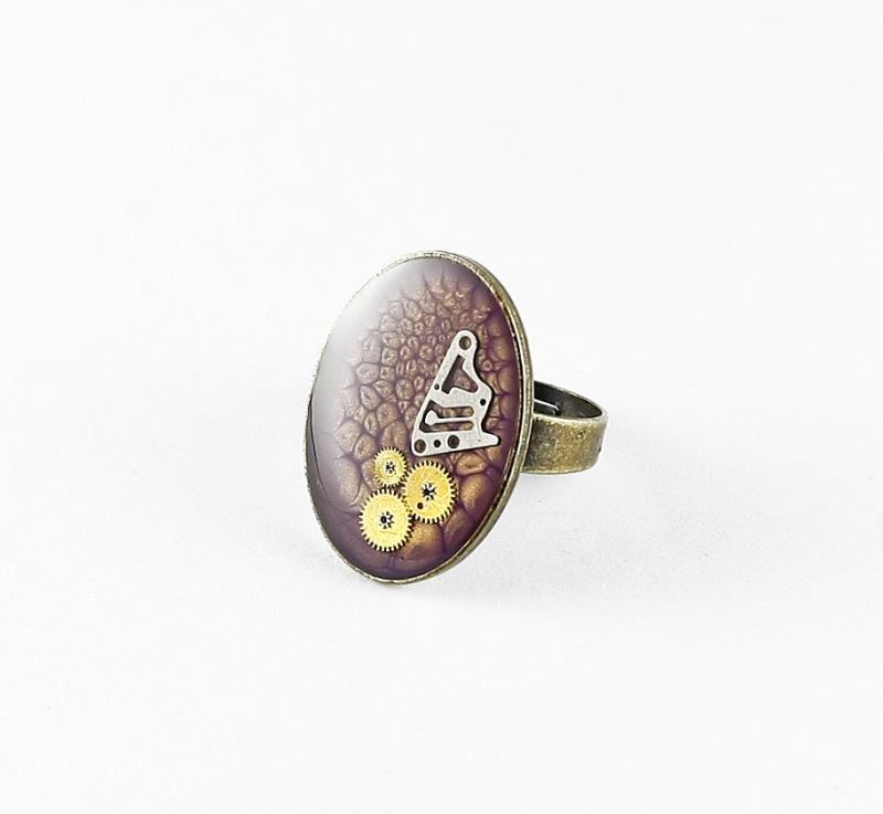 Ring Steampunk Oval in Violett