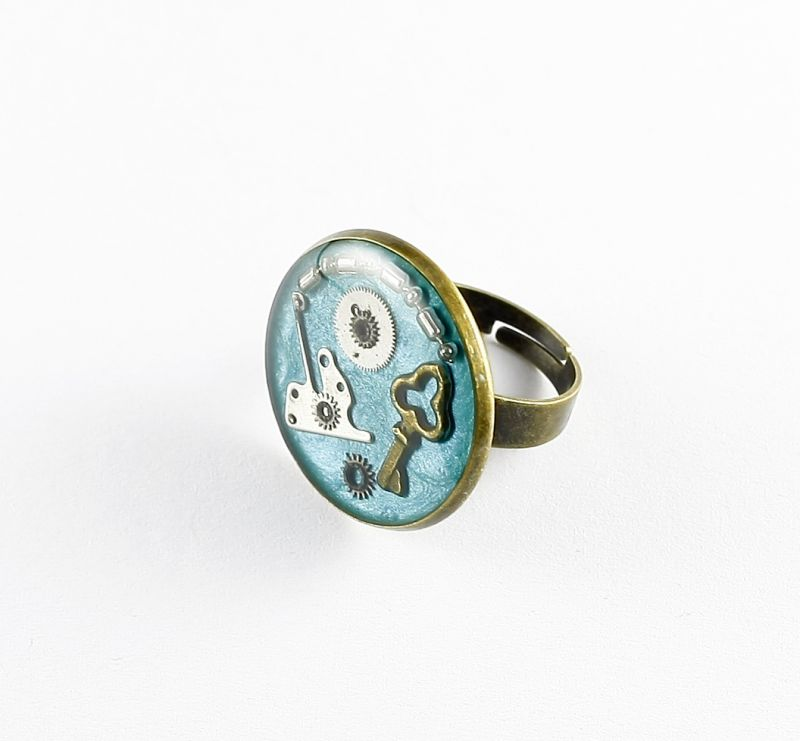 Ring Steampunk Schlüssel in Blau