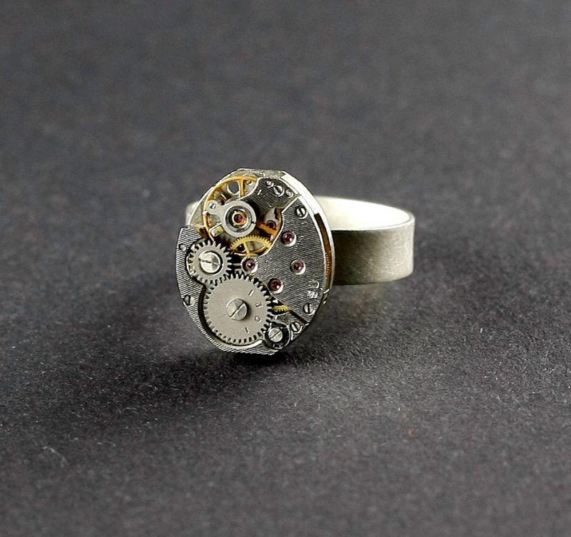 Ring Silber 925 Oval Steampunk