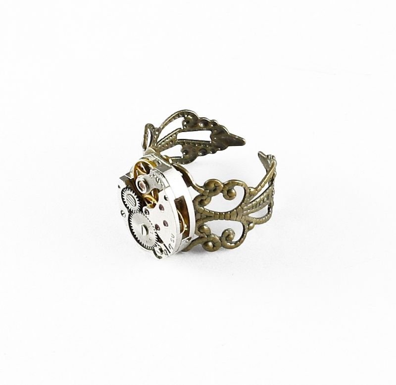 Ring Steampunk Feines Oval in Bronze Farbe