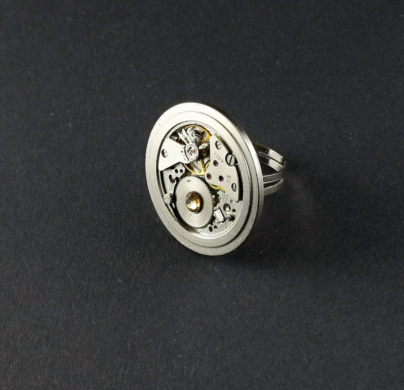 Ring Steampunk mit Preciosa Kristalle in Gold Braun
