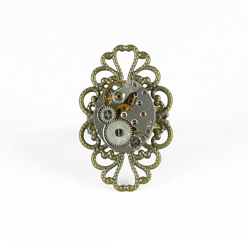 Ring Steampunk Feines Oval