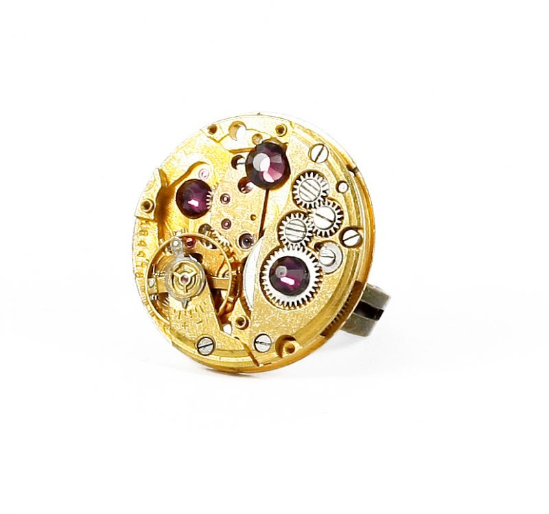 Ring Steampunk Gold mit Violett