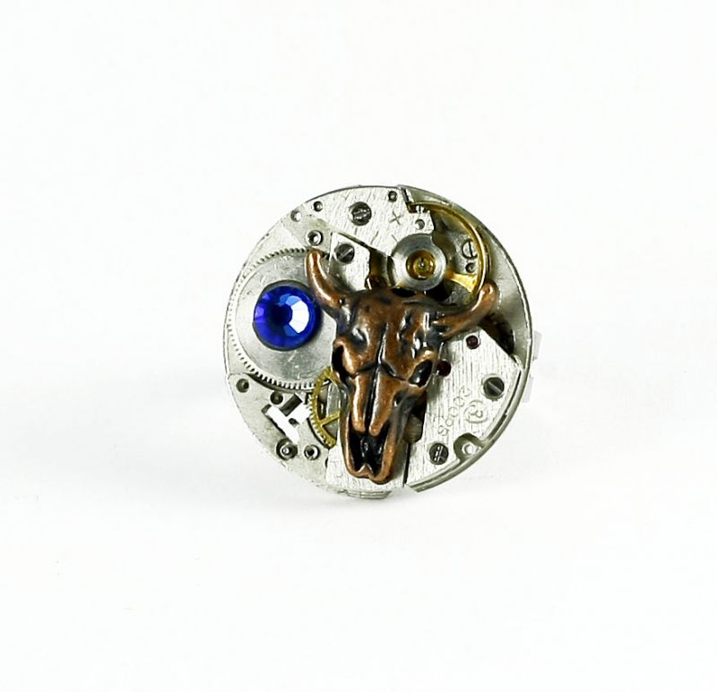 Ring Steampunk Schädel Kuh