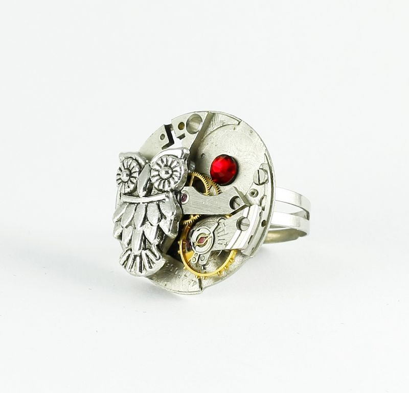 Ring Steampunk Eule mit Rot