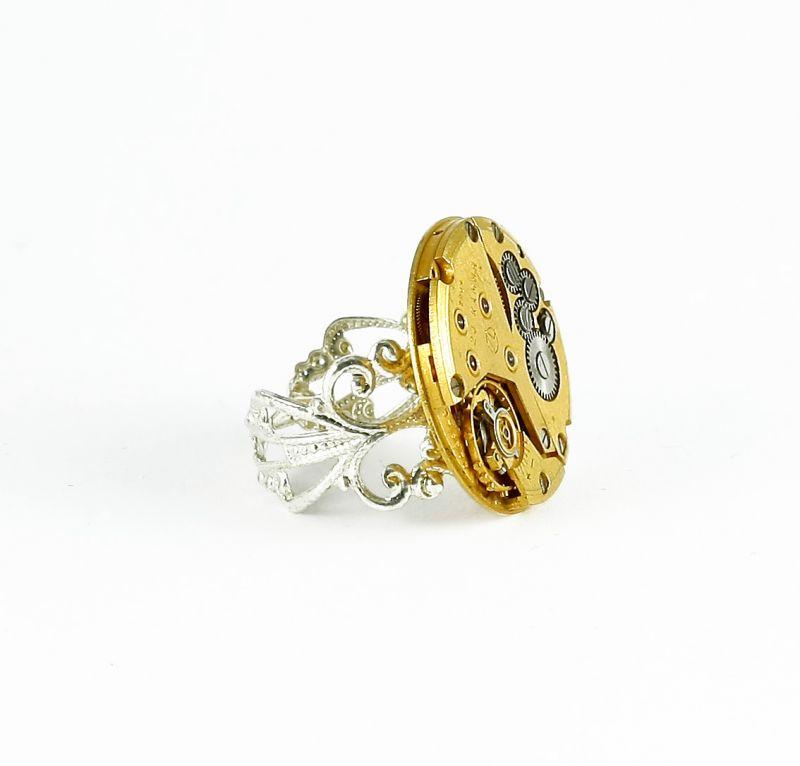 Ring Steampunk Feines Gold